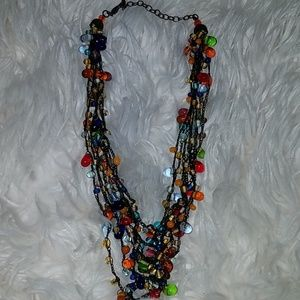 Adorable multi colored crystal boho necklace
